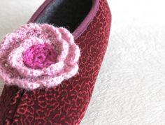 SALE New Product - Women Home Slippers, Velvet slippers, Size 6 1/2, Flower embroidered, crochet floral, Burgundy slippersred flower, $12