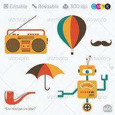 Retro Robot, Boombox, Umbrella, Hot Air Balloon... - Retro Technology