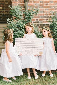 An adorable trio of flower girls: http://www.stylemepretty.com/2015/11/09/romantic-elegant-annapolis-wedding/   Photography: Elizabeth Fogarty - http://elizabethfogartyphotography.com/