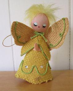 vintage burlap angel ornament Dakin by vintagegoodies on Etsy, $8.00