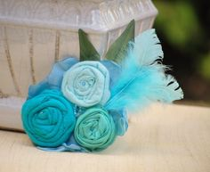 Corsage or Fascinator. Something Turquoise Aquablue Cyan. Bridal Party Rose Rosette, Children Toddler Kid, Shabby Chic Sash Brooch, Icy Aqua - pinned by pin4etsy.com