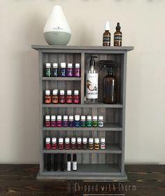 Essential Oil Wall Shelf, Essential Oil Storage, Wall Shelf, Bathroom Shelf, Essential Oil Cabinet by ChippedWithCharm on Etsy https://www.etsy.com/listing/285874851/essential-oil-wall-shelf-essential-oil