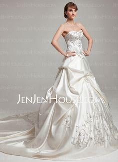 Wedding Dresses - $238.69 - A-Line/Princess Sweetheart Chapel Train Charmeuse Wedding Dresses With Embroidery Ruffle Beadwork (002017562) http://jenjenhouse.com/A-line-Princess-Sweetheart-Chapel-Train-Charmeuse-Wedding-Dresses-With-Embroidery-Ruffle-Beadwork-002017562-g17562