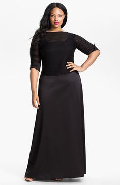 JS Collections Illusion Bodice & Satin Dress (Plus) available at #Nordstrom