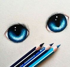 Just Pinned to Blue: blue blueeyes colors cute disney draw. Amazing Drawings, Beautiful Drawings, Cute Drawings, Drawing Sketches, Amazing Art, Sketching, Beautiful Eyes, Awesome, Realistic Eye Drawing