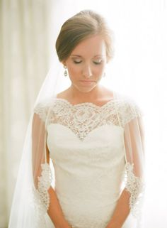 Shannon in Augusta Jones gown and custom Erica Koesler lace veil