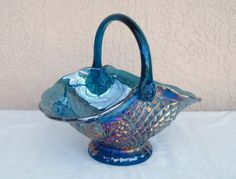 Antique Glassware | Vintage INDIANA GLASS CO Large Blue Carnival Glass by npebaysale