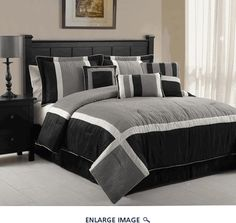 11 Piece Queen Blaine Black and Grey Bed in a Bag Set
