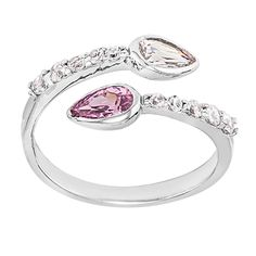 Pink & Clear Cubic Zirconia Pave Sterling Silver Toe Ring at FreshTrends.com