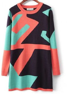 AUTUMN NEW FASHION WOMEN'S IRREGULAR ROUND NECK LONG-SLEEVED KNIT SPELL COLOR DRESS 2736
