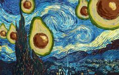 25 Famous Paintings Improved by Avocados The Starry Night with Avocado, Vincent van Gogh, 1889 Vincent Van Gogh, Avocado Art, Cute Avocado, Art Watercolor, Museum Of Modern Art, Art History, Art Inspo, Cool Art, Art Drawings