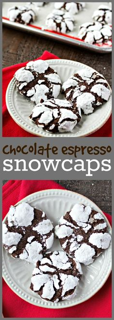 Chocolate Espresso Snowcaps – A chewy, chocolate cookie with a hint of espresso and then rolled in powdered sugar. They'll remind you of little bites of brownie but with a little wintery snow on top. Just Desserts, Delicious Desserts, Dessert Recipes, Dinner Recipes, Pasta Recipes, Crockpot Recipes, Soup Recipes, Breakfast Recipes, Vegetarian Recipes