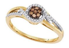 0.2 cttw 10k Yellow Gold Cognac Brown Diamond White Diamond Flower Engagement Ring Promise Wedding Ring