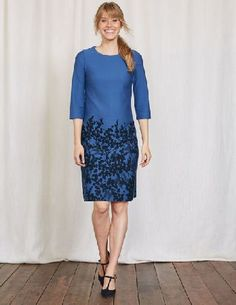 #Boden Lily Ponte Dress Blue Wisteria Bunch Women #This dress is ideal for when you want something a little bit special. Our simple shift design allows the floral placement print to really stand out. Weve cleverly positioned the elegant pattern for a slimming effect.