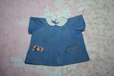 Blue Cotton Pocketed Dress for Small Composition Dolls 1930s