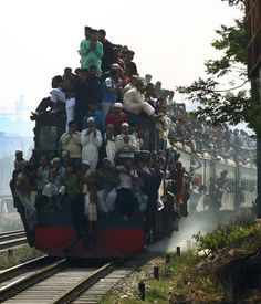 Train Surfing in Bangladesh - for many in southeast Asia and Africa, train surfing is a common form of transportation. However, it is not without risk. People have suffered electrocution, severed limbs, falling onto the tracks and colliding with tunnels simply to get from A to B.
