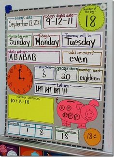 I like this calendar helper. Thinking of making it on poster and laminating so that students can fill it out with dry erase during centers.