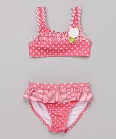 Look what I found on #zulily! Hot Pink Polka Dot Skirted Bikini - Infant #zulilyfinds
