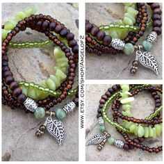 Olive Jade and Dark Wood Stretch Stacking Bracelets - Bohemian with Leaf Charm