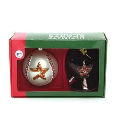 """$29.89-$30.00 SC Sports Double Ornament Set. Each exclusive boxed set includes a 3"""" helmut and a matching 5"""" football. Both hand-painted ornaments feature official NFL team colors and logos."""