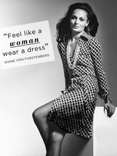 "Diane von Furstenberg's iconic wrap dress was introduced in 1974. The jersey dress flatters every woman's figure. It had a man's style collar which allowed for it to fit a working woman's office wardrobe yet looks ""sexy"" with its simple belted closure and thigh-revealing slit. It is a dress that's been a staple in women's clothing nearly continuously since its introduction in 1974."