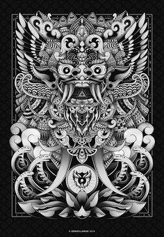 Barong Bali Art Print by godzillarge Barong Bali, Cambodian Art, Dragons, Kunst Tattoos, Indonesian Art, Japanese Tattoo Art, Thai Art, Japanese Characters, Poster Prints