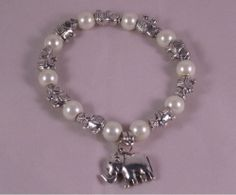White 6MM #Pearl With #Elephant Cute Charm Stretchy Bracelet  #Jewelry