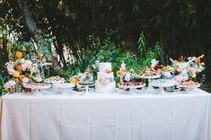 bright and colorful dessert table