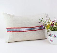 Vintage Grain Sack Linen Pillow Cover  Antique by LinenandStripes