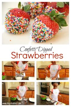 Confetti Dipped Strawberries are a fun treat perfect for parties, picnics or just an afternoon snack. Watch how kids can make it on their in 3 easy steps. Toddler-Friendly