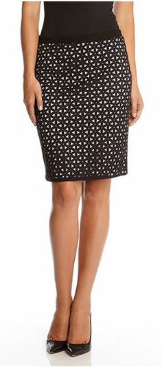Amazing Detailing! Karen Kane Black and White Laser Cutout Skirt!  Crafty cutouts reveal a white lining underneath that creates a cool contrast.