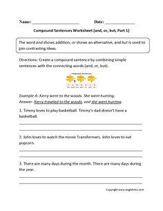 Compound Sentences Worksheets