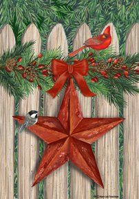 Picket Fence Star  28 Inch By 40 Inch Large Decorative Flag  Winter Christmas >>> Details can be found by clicking on the image.