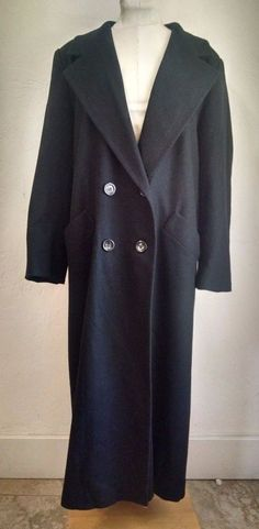 Pendleton Wool Womens Long Dress Coat 8 Solid Black Double Breasted  #Pendleton #Peacoat