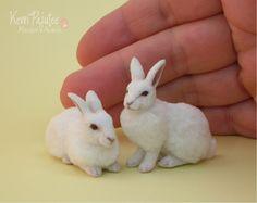 Miniature White Rabbit Sculptures by Pajutee.deviantart.com on @deviantART