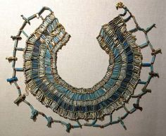 A beaded necklace from ancient Egypt, 664-332 BC, faience, carnelian, and limestone beads. People in ancient Egypt wore and don jewelry to show their wealth and also as they believed that after doing this they will become more favored to the gods.