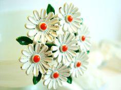 Vintage Enameled Brooch Flower Daisies by vintagebytheseashore