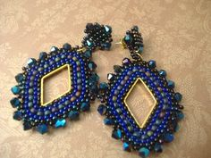 Seed Bead Earrings  Indigo and Gold Diamond Goddess by WorkofHeart