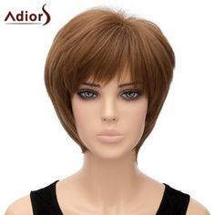 Fashion Straight Full Bang Synthetic Light Brown Short Capless Adiors Wig For Women (LIGHT BROWN) in Synthetic Wigs | DressLily.com
