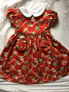 Items similar to Christmas Kitties Dress with a Pocket Kitty on Etsy My Little Girl, Little Girl Dresses, Girls Dresses, Summer Dresses, Vintage Style Dresses, Classic Dresses, Girls Christmas Dresses, Red Christmas, Pretty Dresses