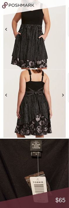 NWT Torrid The Nightmare Before Christmas Dress Torrid Nightmare Before Christmas dress has front pockets bat bow tie on back, I recently purchased and absolutely love this dress but unfortunately it is too big for me my loss your gain, only worn to try on size 16 torrid Dresses