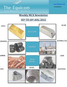 weekly-mcx-newsletter-05-aug-2013 by Richa  Sharma via Slideshare visit www.theequicom.com dial 09200009266