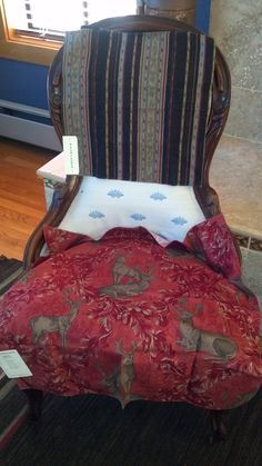 Around the Cape Chairs in a RL stripe on back and Schumacher stag fabric on seat