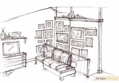 Design by Caley: Living Room Quick Sketch // Wall Collage Idea