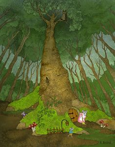 A Mouse in the House <> by Illustrator Roberta Baird <>  For in the true nature of things, if we rightly consider, every green tree is far more glorious than if it were made of gold and silver.  ~Martin Luther