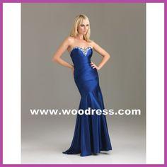 Strapless Sweetheart escote sirena vestido satinado largo azul parte vestidos estilo 6474