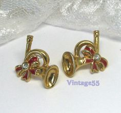 Vintage Earrings Avon  Holiday French Horn pierced by Vintage55, $8.00
