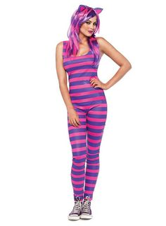 Our Darling Cheshire Cat Costume features pink/purple striped catsuit with oversized furry tail and matching cat ears.This Cheshire Cat costume is brand new for Cheshire Cat Halloween Costume, Sexy Halloween Costumes, Cat Costumes, Halloween Cosplay, Costumes For Women, Cosplay Costumes, Costume Ideas, Disney Halloween, Halloween 2019