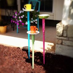 Coffee cup bird feeders
