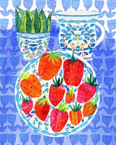 'Strawberry Still Life' by Tracey English Drawing For Kids, Art For Kids, School Painting, Art Folder, Ecole Art, Sketchbook Inspiration, Naive Art, Elementary Art, Art Lessons